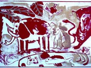 הדפס משי נוח אדום זהב גודל 25\35 סמ