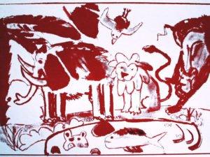הדפס משי נוח אדום גודל 25\35 סמ