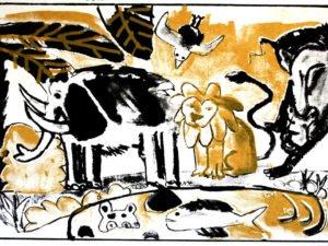 הדפס משי נוח שחור זהב גודל 25\35 סמ