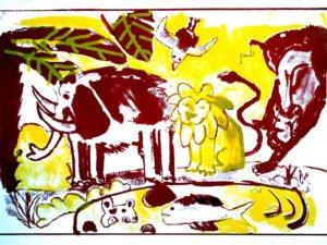 הדפס משי נוח אדום צהוב גודל 25\35 סמ