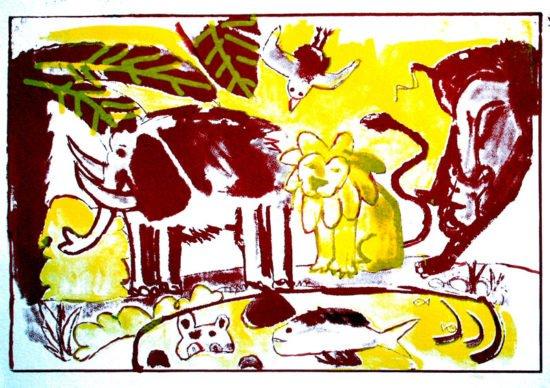 """הדפס משי """"נוח"""" צהוב אדום"""