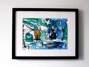 הדפס משי מחווה לנ.גוטמן איך תופסים אריה כחול? 25\35 סמ