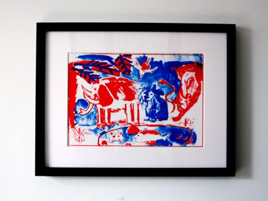 הדפס משי נוח כחול אדום