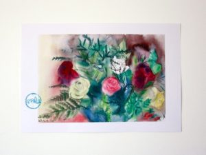 ורדים אדומים ולבנים הדפס