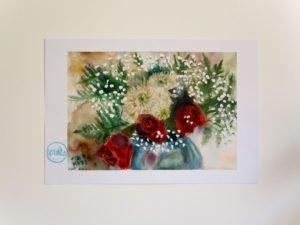 ורדים עם גיבסנית הדפס על נייר כותנה