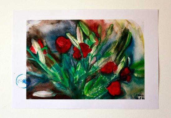 ורדים עם ליליות סגורות הדפס