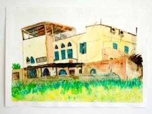 ציור אקווארל של צילום בית ביפו