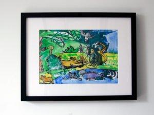 הדפס משי מחווה לנ.גוטמן משפחה של אריות 25\35 סמ
