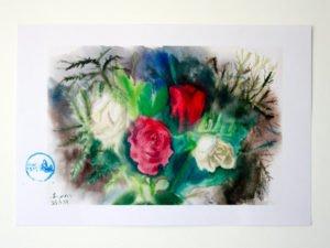 ורדים לבנים ואדומים. הדפס אמנות מציור אקוורל מקורי