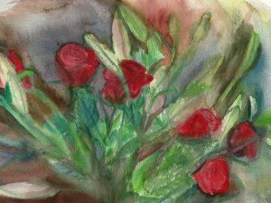 ורדים עם ליליות סגורות הדפס על נייר כותנה