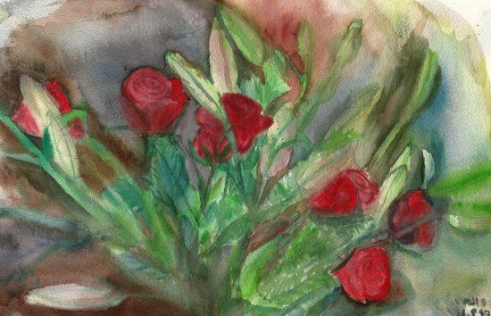 ורדים עם ליליות סגורות