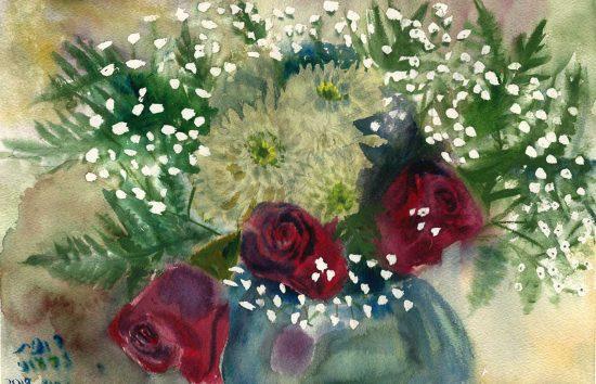 ורדים עם גיבסנית 02