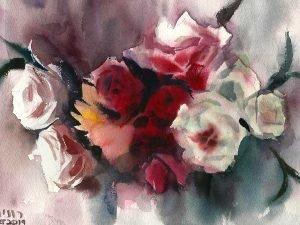 זר ורדים סימטרי הדפס על נייר כותנה
