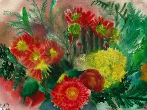 זר גרברות פזורות הדפס אמנות מציור אקוורל מקורי