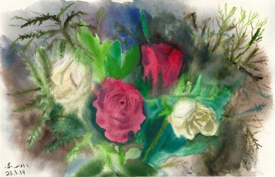 ורדים אדומים ולבנים