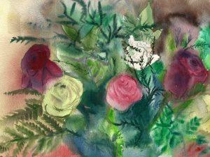 ורדים אדומים, לבנים וורודים הדפס על נייר כותנה