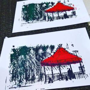הפגודה באדום הדפס משי