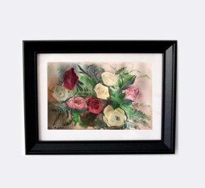 הדפס ממוסגר ורדים אדומים לבנים וורודים 1