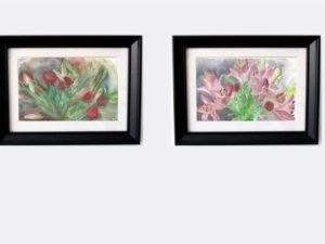 סט של שני הדפסים ממוסגרים על נייר כותנה של ליליות וורדים