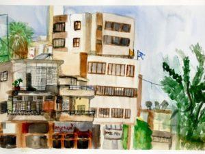רחוב הרצל 82 מעל אנטריקוטה בראשון לציון. הדפס אמנות