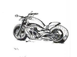 הדפס של אופנוע הארלי מהצד על נייר אמנות צהוב\אדום\סגול\אפור\בלוק עץ