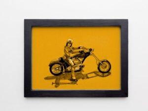 הדפס של רישום האגזוזן משכונת רמז על נייר אמנות קנסון אדום\צהוב\סגול\בלוק עץ