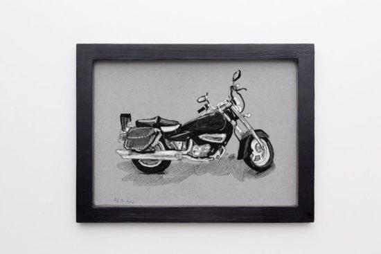 הדפס ממוסגר של אופנוע ראשלצי1