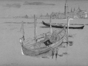 הדפס של סירה איטלקית על נייר אמנות
