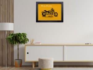 הדפסשל ציור של אופנוע הארלי דוידסון דגם חדיש על נייר