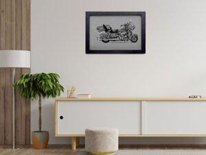 הדפס של אופנוע הארלי דוידסון רוד קינג קלאסיק על נייר אמנות אדום\צהוב\סגול\אפור\בלוק עץ