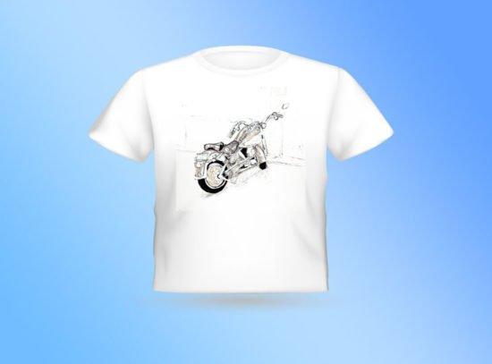 חולצה לבנה עם הדפס אופנוע