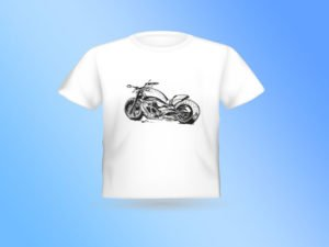 T-SHIRT עם הדפס של רישום של אופנוע צידי