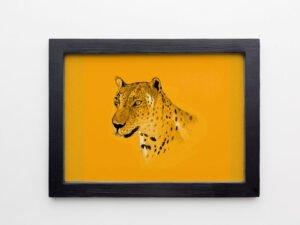 הדפס של נמר מים המלח על נייר אמנות צהוב\אדום\סגול\אפור\בלוק עץ