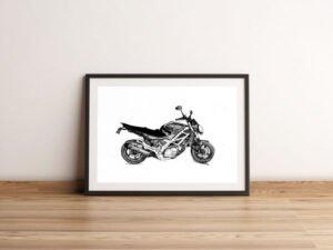 """רישום של אופנוע מראשל""""צ מספר 2. הדפס אמנות."""