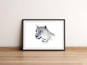 הדפס של נמר מים המלח על נייר אמנות