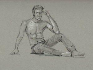 T-SHIRT עם הדפס של רישום של בחור בג'ינס ופורשה