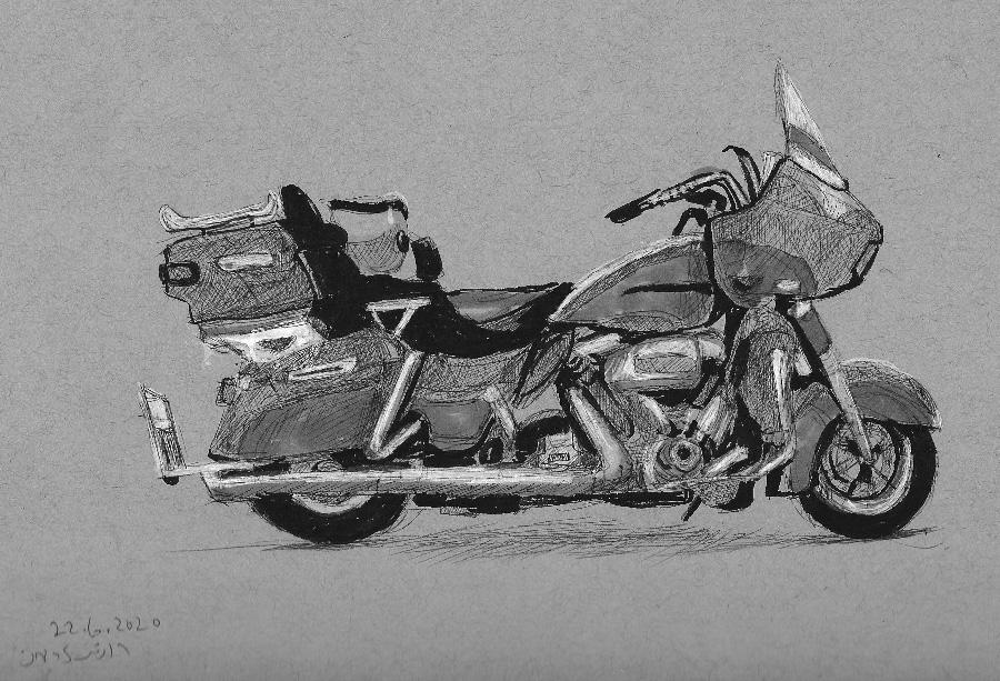 רישום אופנוע הארלי אדום