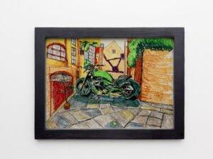 הדפס משי אופנוע הארלי דוידסון בנוף לונדוני
