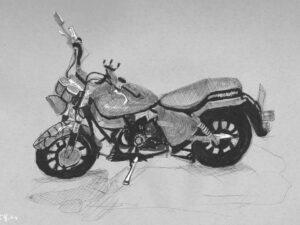 T-SHIRT עם הדפס של רישום של אופנוע 001