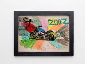 """הדפס משי אופנוע הארלי דוידסון """"זוז"""""""
