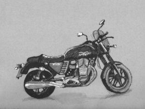 הדפס של רישום של אופנוע מוטוגוצי וי7 על נייר אמנות