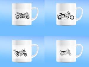 סט של 4 כוסות מאג קרמיקה מודפסות עם אופנועים 2