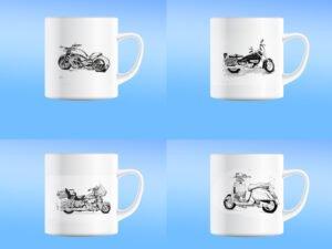 סט של 4 כוסות מאג קרמיקה מודפסות עם אופנועים