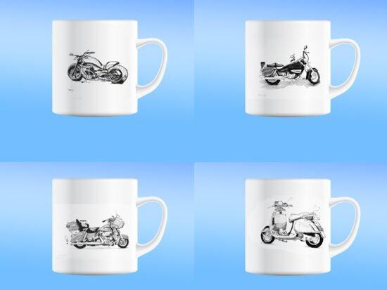 סט כוסות אופנועים