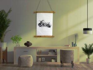 הדפס נייר אורז עם איור אופנוע הארלי דוידסון מוחזק במתלה במבוק יפני 30 סמ על 42 סמ
