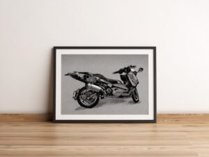 סט אופנועים חדיש: דוקטי דיאבל, קטנוע כוורת ואופנוע באוגוסט. שלושה הדפסים