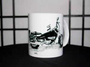 כוס מאוירת של אופנוע עם תיקים