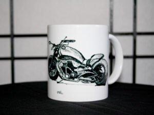 כוס מאוירת של אופנוע הארלי דוידסון צידי