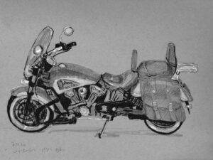 הדפס של רישום של אופנוע אינדיאן על נייר אמנות