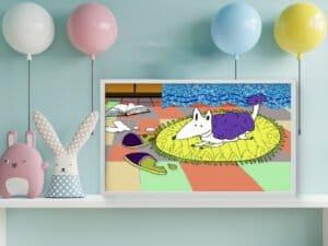 כלבלב על שטיח – הדפס עם אנימציה במציאות רבודה!